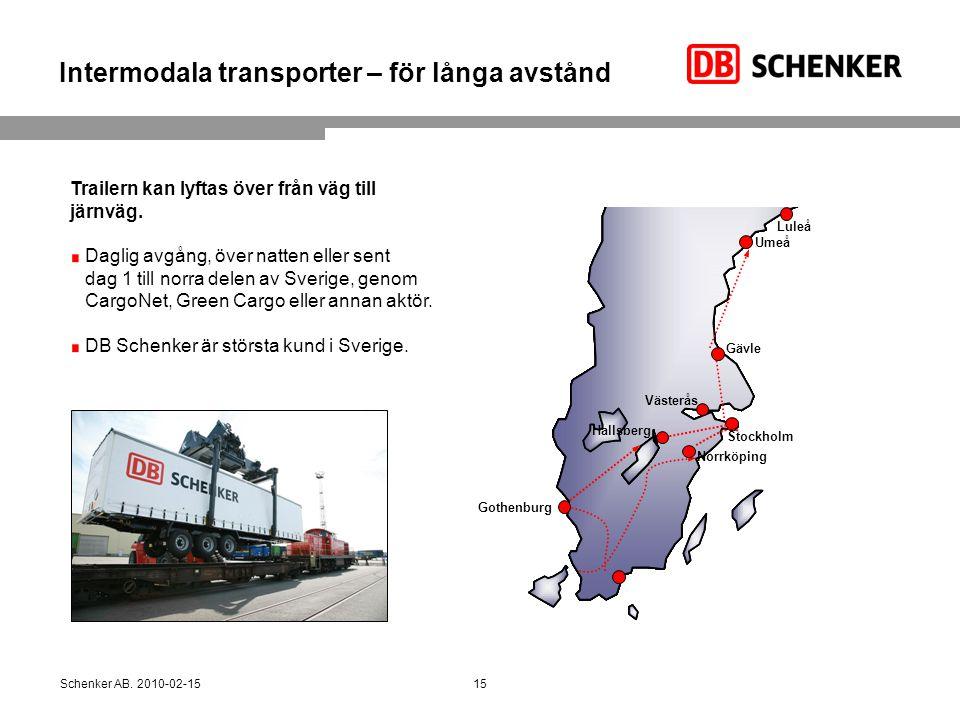 Intermodala transporter – för långa avstånd Trailern kan lyftas över från väg till järnväg. Daglig avgång, över natten eller sent dag 1 till norra del
