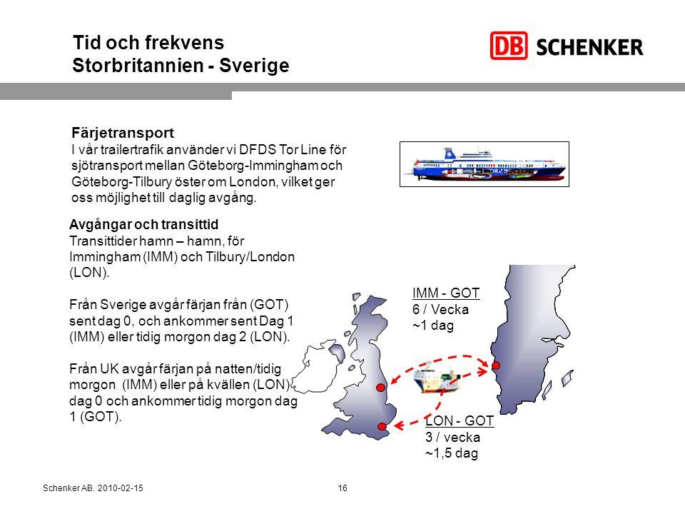 Tid och frekvens Storbritannien - Sverige Avgångar och transittid Transittider hamn – hamn, för Immingham (IMM) och Tilbury/London (LON). Från Sverige