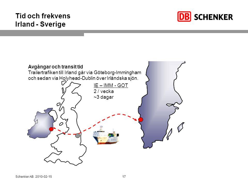 Tid och frekvens Irland - Sverige IE – IMM - GOT 2 / vecka ~3 dagar Avgångar och transit tid Trailertrafiken till Irland går via Göteborg-Immingham oc