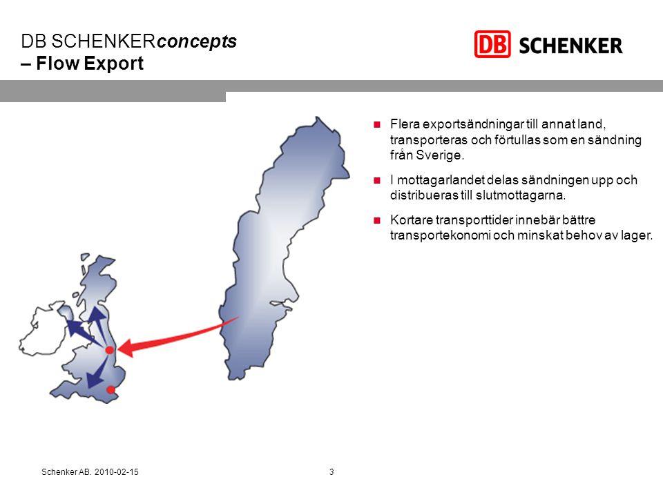 DB SCHENKERconcepts – Flow Export Flera exportsändningar till annat land, transporteras och förtullas som en sändning från Sverige. I mottagarlandet d