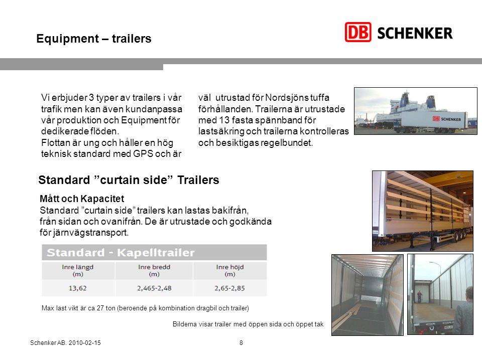 Equipment – trailers Vi erbjuder 3 typer av trailers i vår trafik men kan även kundanpassa vår produktion och Equipment för dedikerade flöden. Flottan