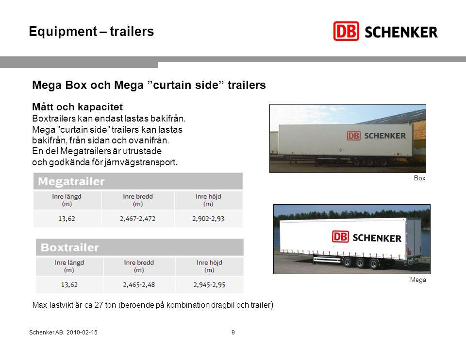 """Equipment – trailers Mått och kapacitet Boxtrailers kan endast lastas bakifrån. Mega """"curtain side"""" trailers kan lastas bakifrån, från sidan och ovani"""