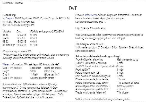 Norrman / Pikwer © DVT Sekundärprofylax – behandlingens längd Trombofilidefekt ej påvisadRekommenderad tid 1:a DVT (distalt om v poplitea)6 mån 1:a DVT distalt m okänd / perm riskfaktor6 mån Proximal DVT6 mån Första lungembolin (LE)6 mån Som ovan med ökad blödningsrisk3 mån Första insjuknande, livshotande12 mån Första insjuknande, aktiv cancerTills cancern är borta Andra insjuknande, kontralat DVTSom första DVT Andra insjuknande, ipsilat eller LE>12 mån Tredje insjuknande (eller mer)Tills vidare Vid känd trombofilidefekt oftast längre behanlingstider.