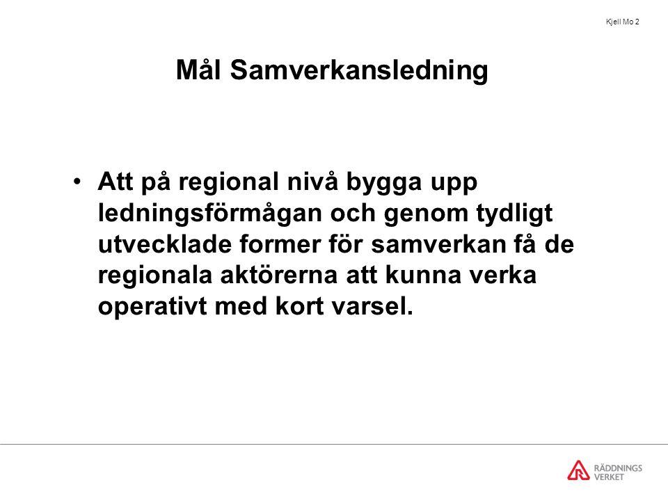 Kjell Mo 2 Mål Samverkansledning Att på regional nivå bygga upp ledningsförmågan och genom tydligt utvecklade former för samverkan få de regionala aktörerna att kunna verka operativt med kort varsel.