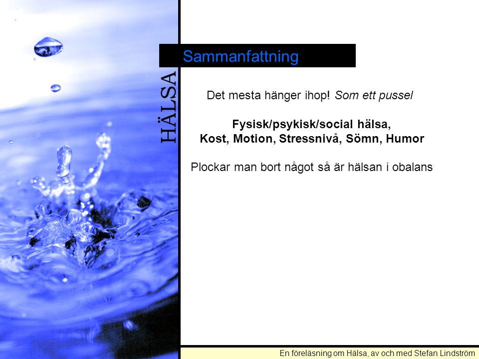En föreläsning om Hälsa, av och med Stefan Lindström HÄLSA Sammanfattning Det mesta hänger ihop! Som ett pussel Fysisk/psykisk/social hälsa, Kost, Mot