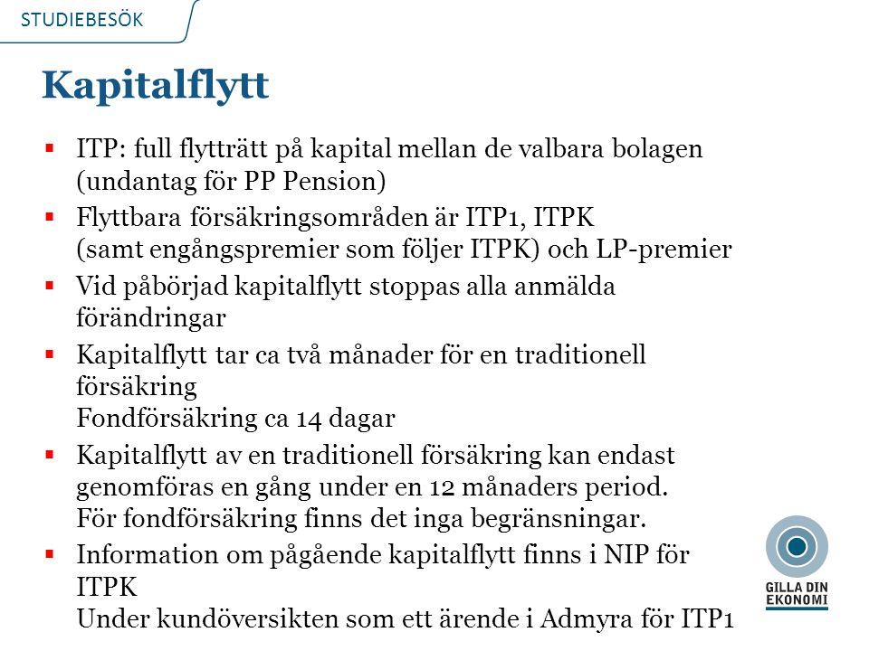 STUDIEBESÖK Kapitalflytt  ITP: full flytträtt på kapital mellan de valbara bolagen (undantag för PP Pension)  Flyttbara försäkringsområden är ITP1, ITPK (samt engångspremier som följer ITPK) och LP-premier  Vid påbörjad kapitalflytt stoppas alla anmälda förändringar  Kapitalflytt tar ca två månader för en traditionell försäkring Fondförsäkring ca 14 dagar  Kapitalflytt av en traditionell försäkring kan endast genomföras en gång under en 12 månaders period.