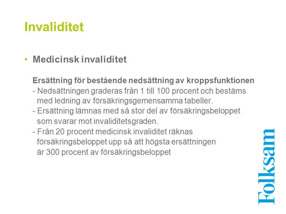 Invaliditet Medicinsk invaliditet Ersättning för bestående nedsättning av kroppsfunktionen - Nedsättningen graderas från 1 till 100 procent och bestäm