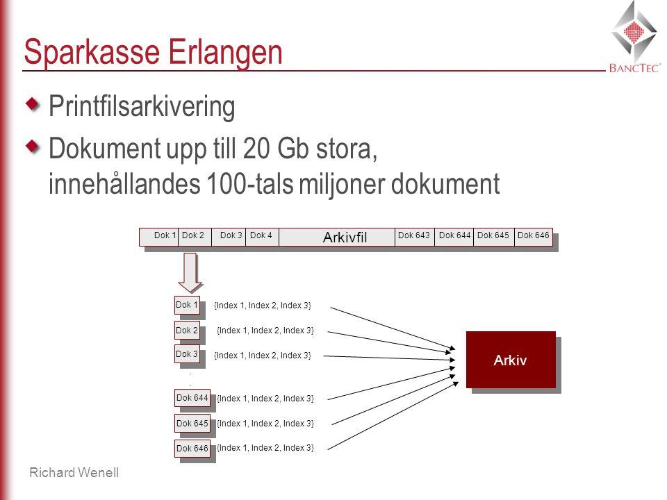 Richard Wenell Sparkasse Erlangen Printfilsarkivering Dokument upp till 20 Gb stora, innehållandes 100-tals miljoner dokument Arkivfil Dok 1Dok 2Dok 3Dok 4Dok 643Dok 644Dok 645Dok 646 Dok 1 Dok 2 Dok 3 Dok 644 Dok 645 Dok 646....