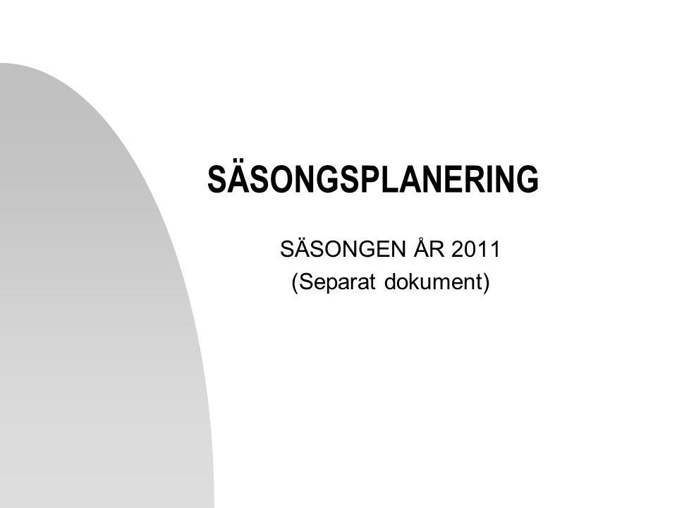 SÄSONGSPLANERING SÄSONGEN ÅR 2011 (Separat dokument)
