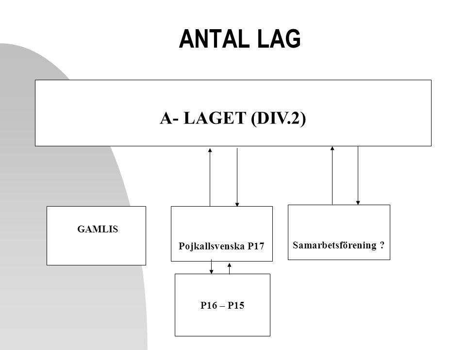 ANTAL LAG A- LAGET (DIV.2) P16 – P15 GAMLIS Samarbetsförening ? Pojkallsvenska P17