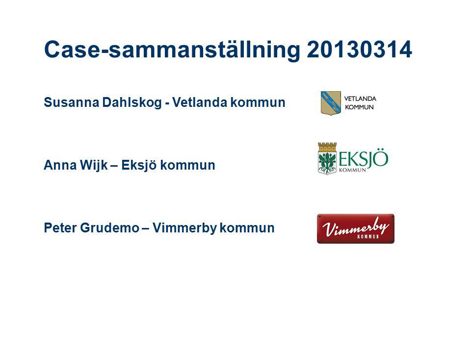 Case-sammanställning 20130314 Susanna Dahlskog - Vetlanda kommun Anna Wijk – Eksjö kommun Peter Grudemo – Vimmerby kommun