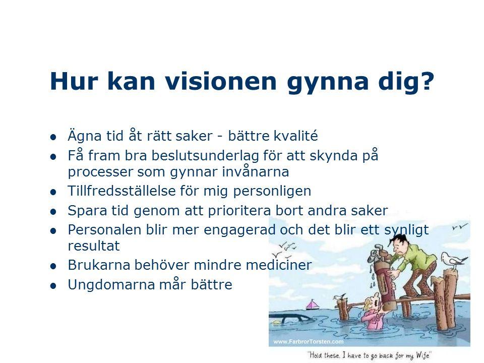 Hur kan visionen gynna dig? Ägna tid åt rätt saker - bättre kvalité Få fram bra beslutsunderlag för att skynda på processer som gynnar invånarna Tillf