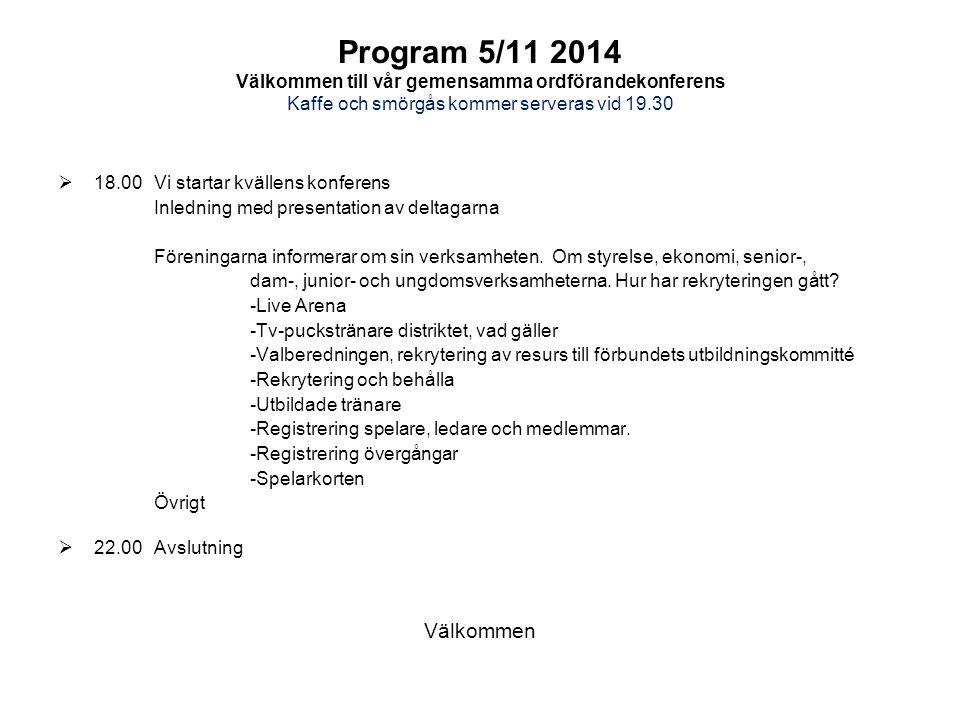 Program 5/11 2014 Välkommen till vår gemensamma ordförandekonferens Kaffe och smörgås kommer serveras vid 19.30  18.00Vi startar kvällens konferens Inledning med presentation av deltagarna Föreningarna informerar om sin verksamheten.