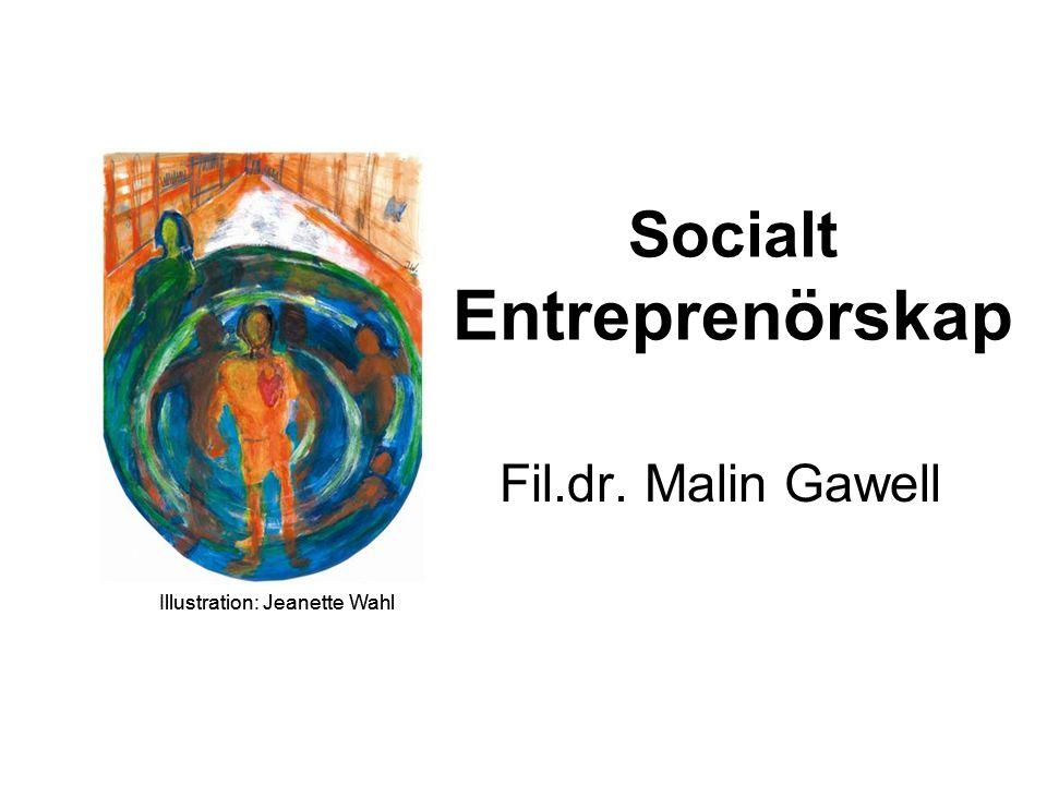 Entreprenörskapets dimensioner Entreprenörskap i samhällets sfärer Begreppet socialt entreprenörskap Dagens föreläsning Malin Gawell, Örebro 29 november 2007