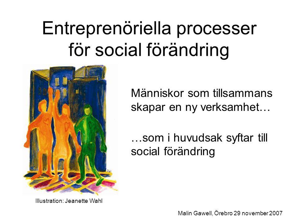 Entreprenörskapets dimensioner Affärsutveckling och kommersialisering Skapa och driva en ny verksamhet Form för arbetsliv och försörjning Management och ledning …med mera Malin Gawell, Örebro 29 november 2007
