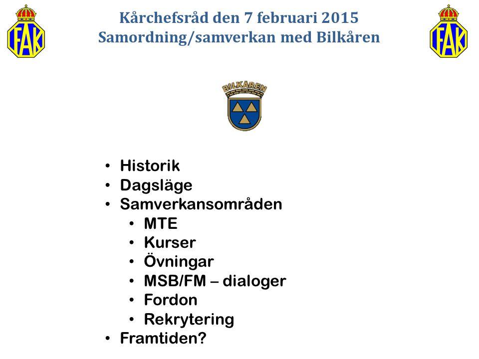 Kårchefsråd den 7 februari 2015 Samordning/samverkan med Bilkåren Historik Dagsläge Samverkansområden MTE Kurser Övningar MSB/FM – dialoger Fordon Rek