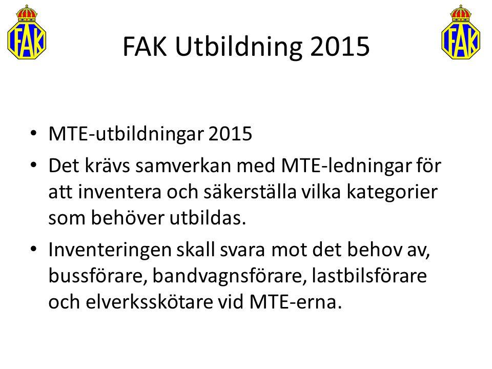 FAK Utbildning 2015 MTE-utbildningar 2015 Det krävs samverkan med MTE-ledningar för att inventera och säkerställa vilka kategorier som behöver utbilda