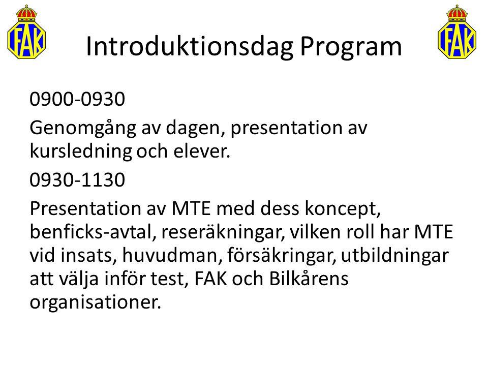 Introduktionsdag Program 0900-0930 Genomgång av dagen, presentation av kursledning och elever. 0930-1130 Presentation av MTE med dess koncept, benfick