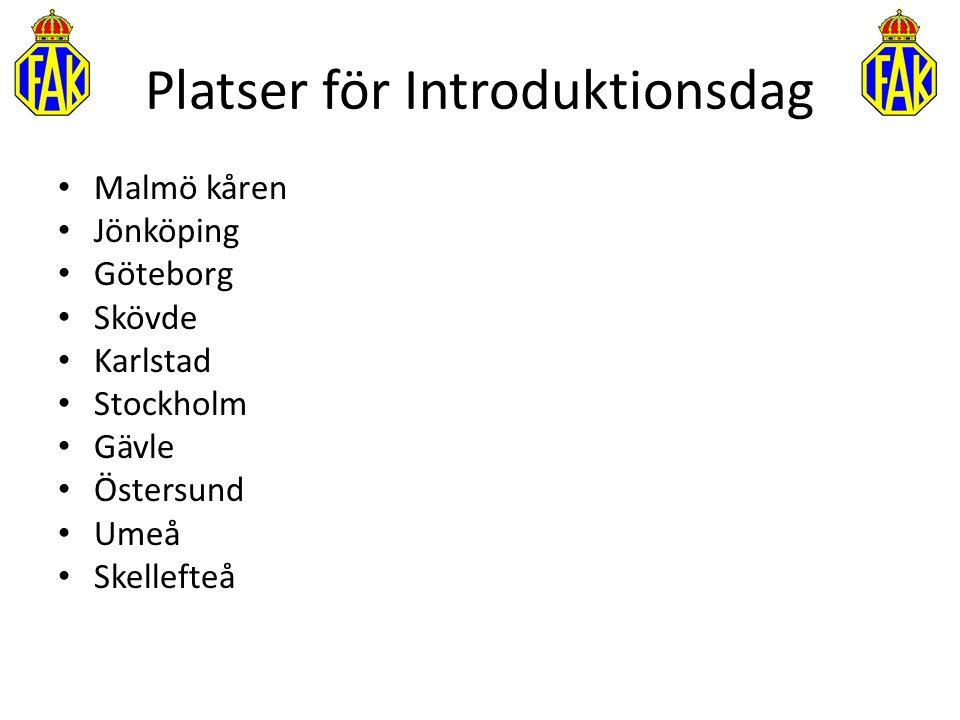 Platser för Introduktionsdag Malmö kåren Jönköping Göteborg Skövde Karlstad Stockholm Gävle Östersund Umeå Skellefteå