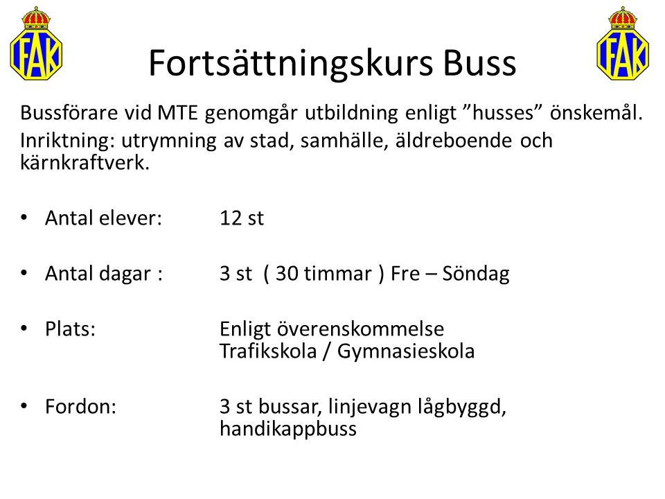 """Fortsättningskurs Buss Bussförare vid MTE genomgår utbildning enligt """"husses"""" önskemål. Inriktning: utrymning av stad, samhälle, äldreboende och kärnk"""