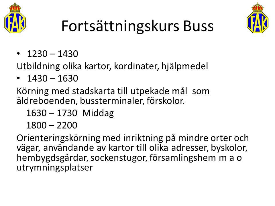 1230 – 1430 Utbildning olika kartor, kordinater, hjälpmedel 1430 – 1630 Körning med stadskarta till utpekade mål som äldreboenden, bussterminaler, för