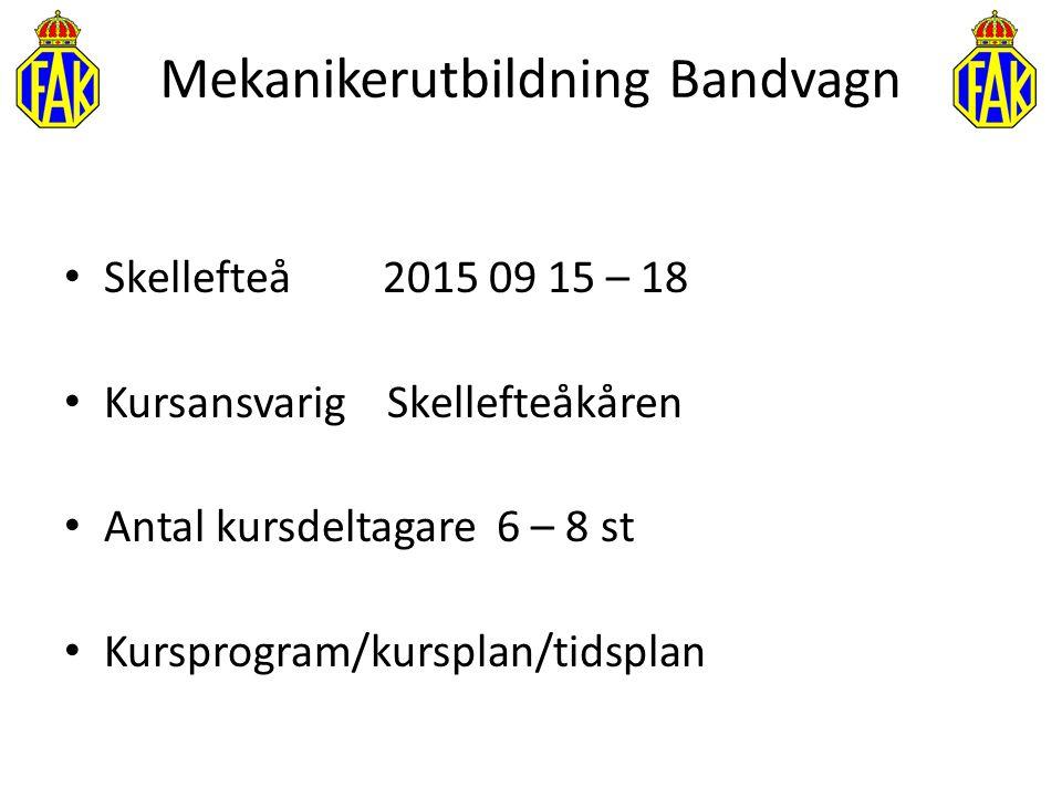 Mekanikerutbildning Bandvagn Skellefteå2015 09 15 – 18 Kursansvarig Skellefteåkåren Antal kursdeltagare 6 – 8 st Kursprogram/kursplan/tidsplan