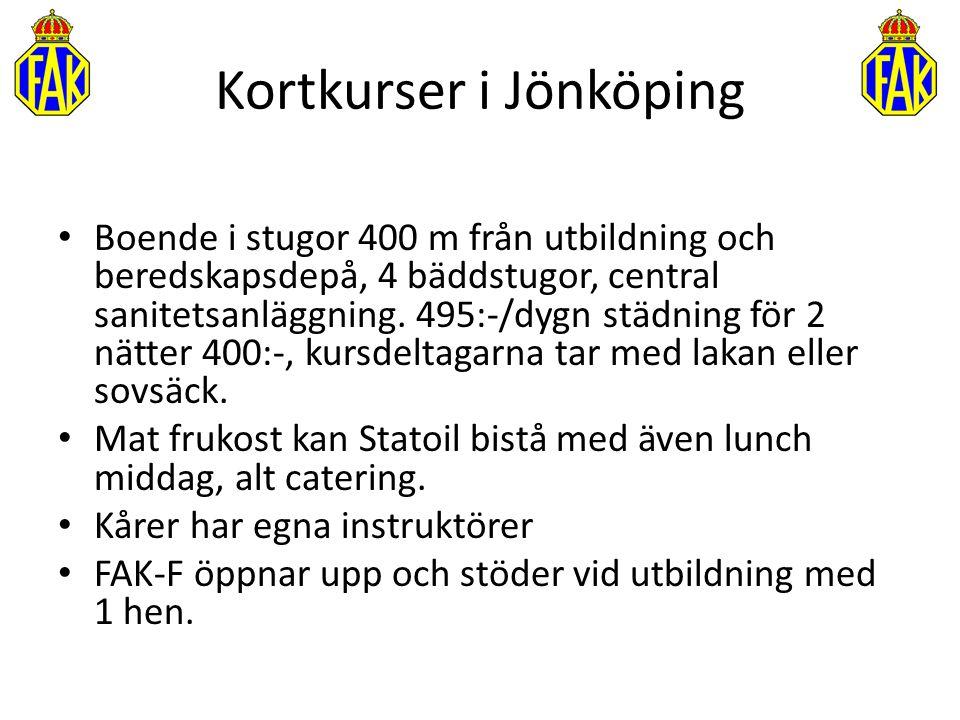 Kortkurser i Jönköping Boende i stugor 400 m från utbildning och beredskapsdepå, 4 bäddstugor, central sanitetsanläggning. 495:-/dygn städning för 2 n