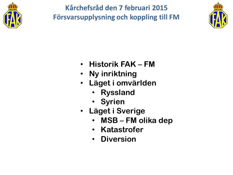 Kårchefsråd den 7 februari 2015 Försvarsupplysning och koppling till FM Historik FAK – FM Ny inriktning Läget i omvärlden Ryssland Syrien Läget i Sver
