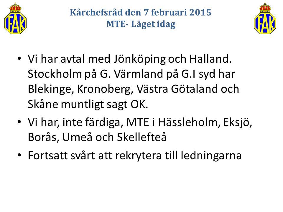 Vi har avtal med Jönköping och Halland. Stockholm på G. Värmland på G.I syd har Blekinge, Kronoberg, Västra Götaland och Skåne muntligt sagt OK. Vi ha