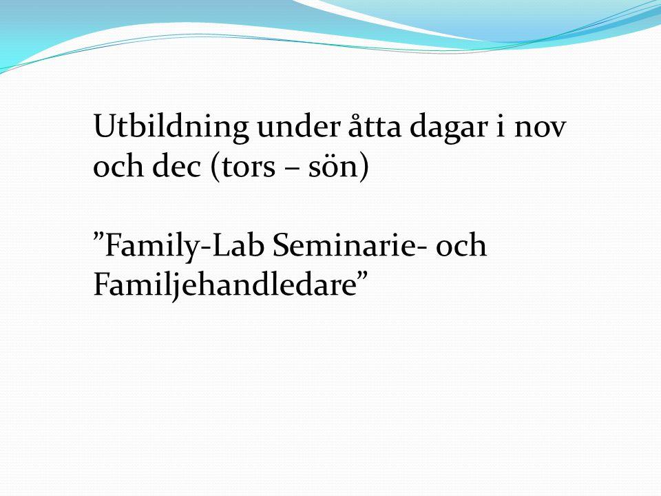"""Utbildning under åtta dagar i nov och dec (tors – sön) """"Family-Lab Seminarie- och Familjehandledare"""""""