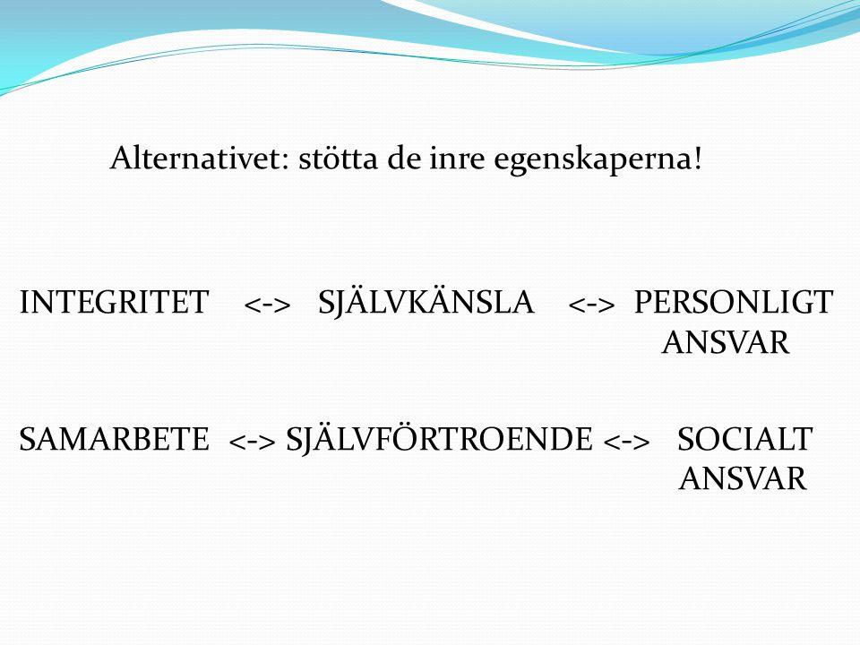 Alternativet: stötta de inre egenskaperna! INTEGRITET SJÄLVKÄNSLA PERSONLIGT ANSVAR SAMARBETE SJÄLVFÖRTROENDE SOCIALT ANSVAR