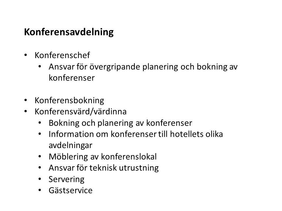 Konferensavdelning Konferenschef Ansvar för övergripande planering och bokning av konferenser Konferensbokning Konferensvärd/värdinna Bokning och plan