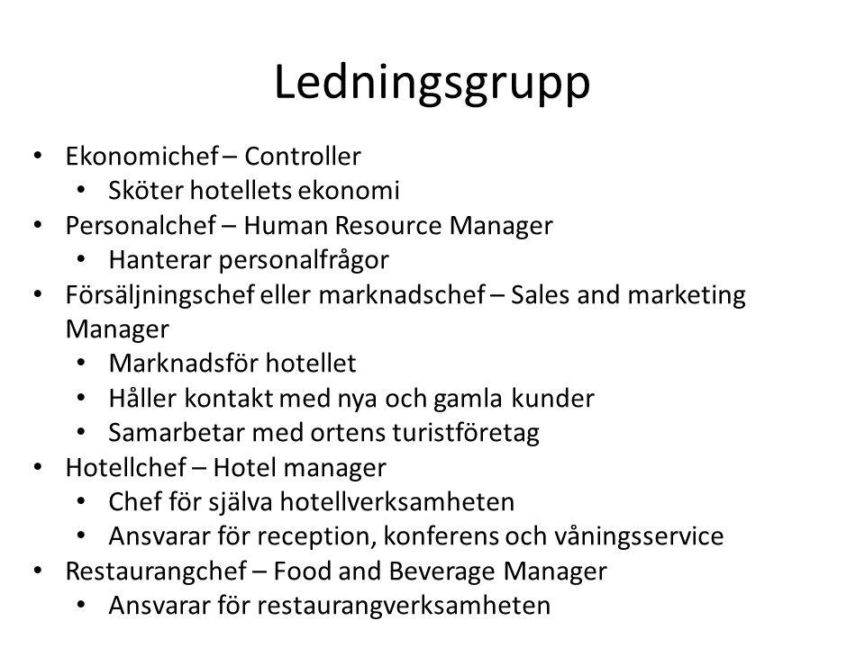 Ekonomichef – Controller Sköter hotellets ekonomi Personalchef – Human Resource Manager Hanterar personalfrågor Försäljningschef eller marknadschef –