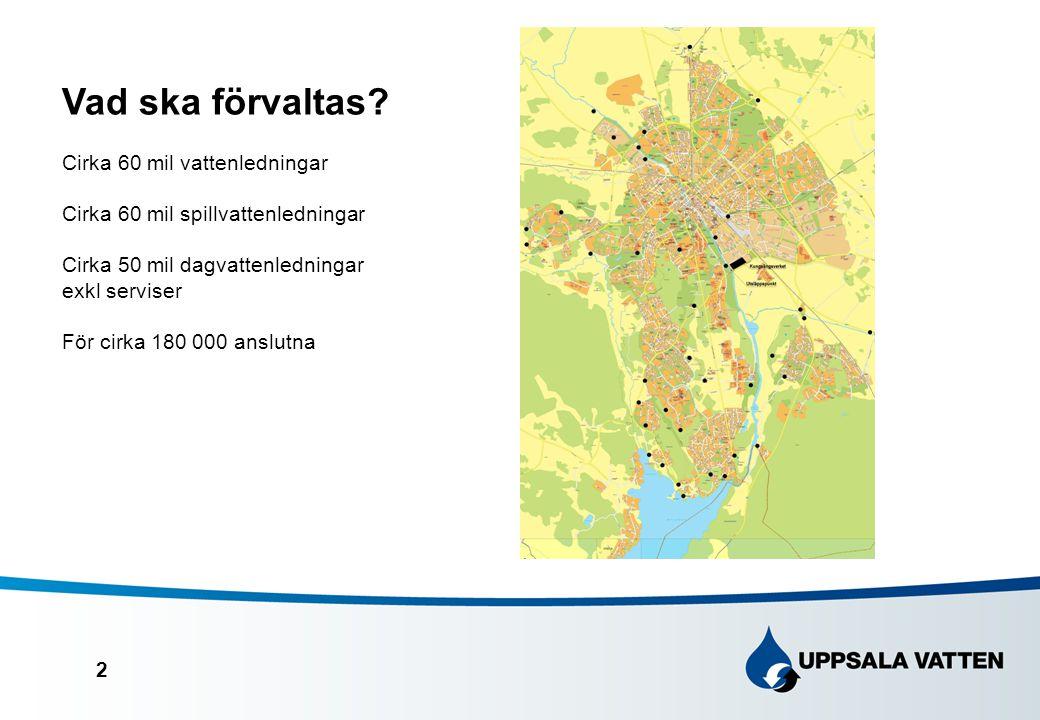 2 Vad ska förvaltas? Cirka 60 mil vattenledningar Cirka 60 mil spillvattenledningar Cirka 50 mil dagvattenledningar exkl serviser För cirka 180 000 an