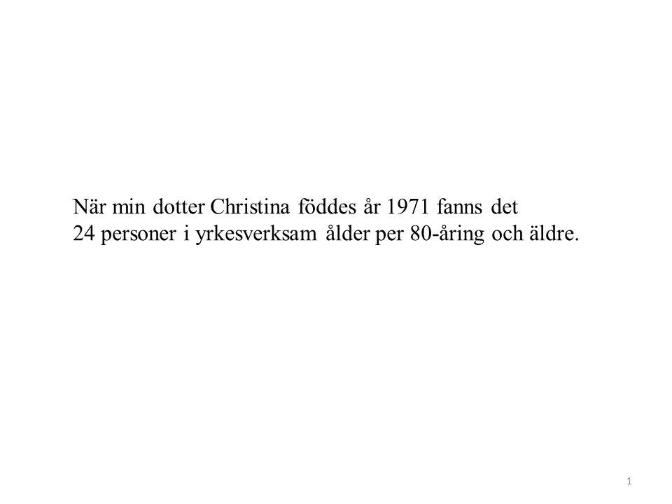 När min dotter Christina föddes år 1971 fanns det 24 personer i yrkesverksam ålder per 80-åring och äldre.