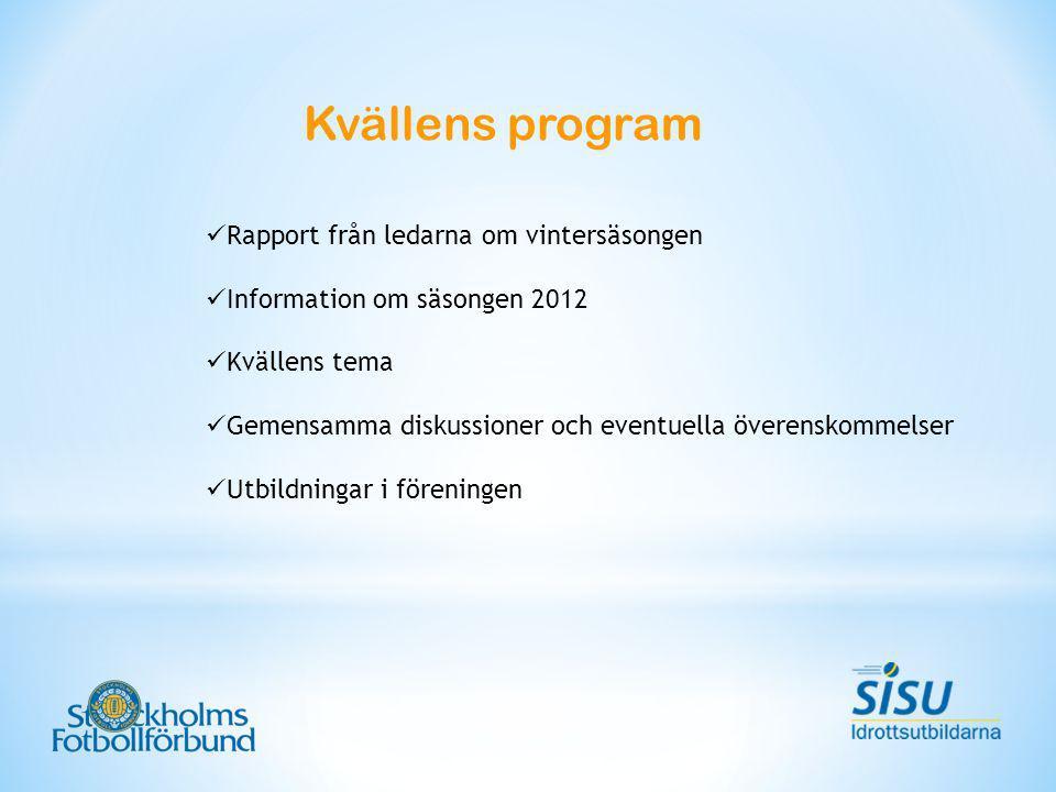 Kvällens program Rapport från ledarna om vintersäsongen Information om säsongen 2012 Kvällens tema Gemensamma diskussioner och eventuella överenskommelser Utbildningar i föreningen