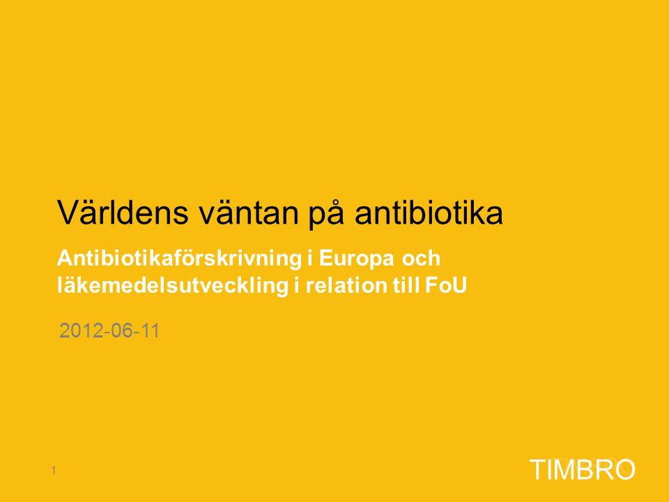 1 TIMBRO Antibiotikaförskrivning i Europa och läkemedelsutveckling i relation till FoU TIMBRO 2012-06-11 TIMBRO Världens väntan på antibiotika