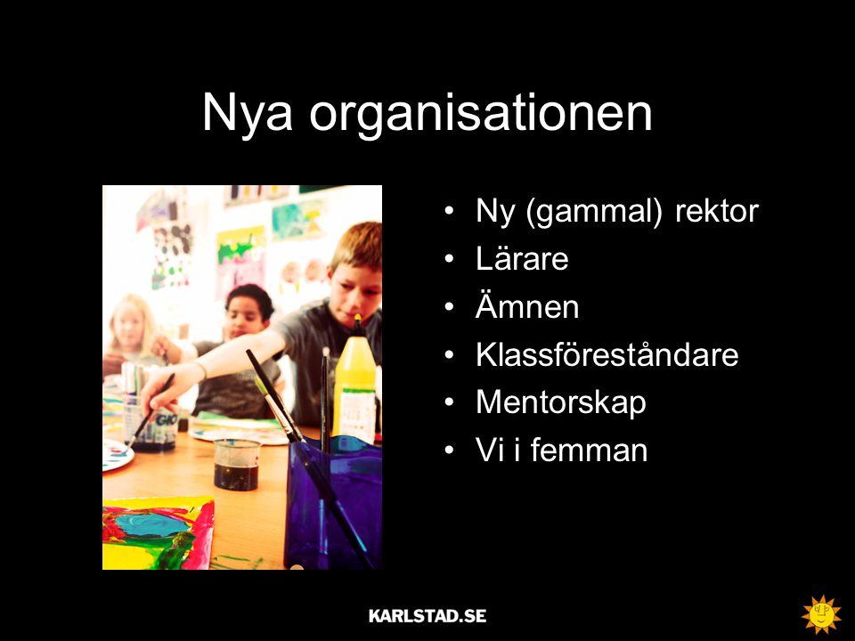 Nya organisationen Ny (gammal) rektor Lärare Ämnen Klassföreståndare Mentorskap Vi i femman
