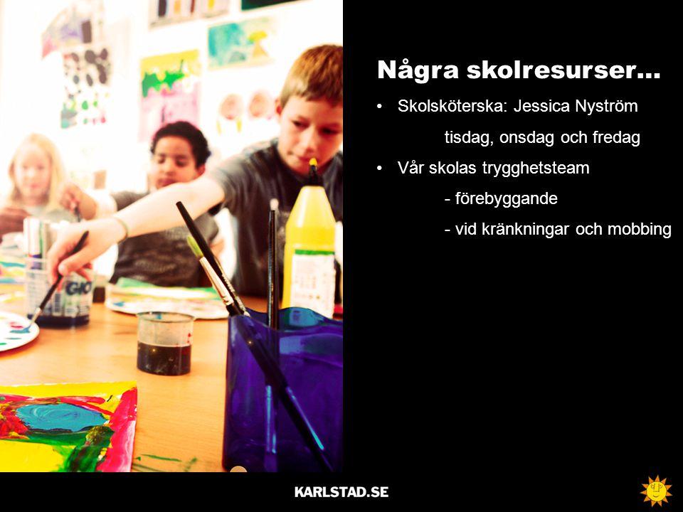 Några skolresurser… Skolsköterska: Jessica Nyström tisdag, onsdag och fredag Vår skolas trygghetsteam - förebyggande - vid kränkningar och mobbing
