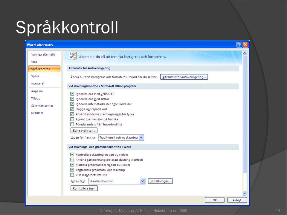 Språkkontroll Copyright, Mahmud Al Hakim, Hakimdata.se 200819