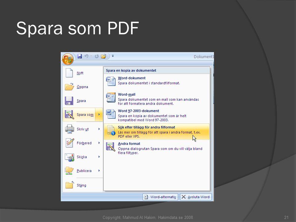 Spara som PDF Copyright, Mahmud Al Hakim, Hakimdata.se 200821