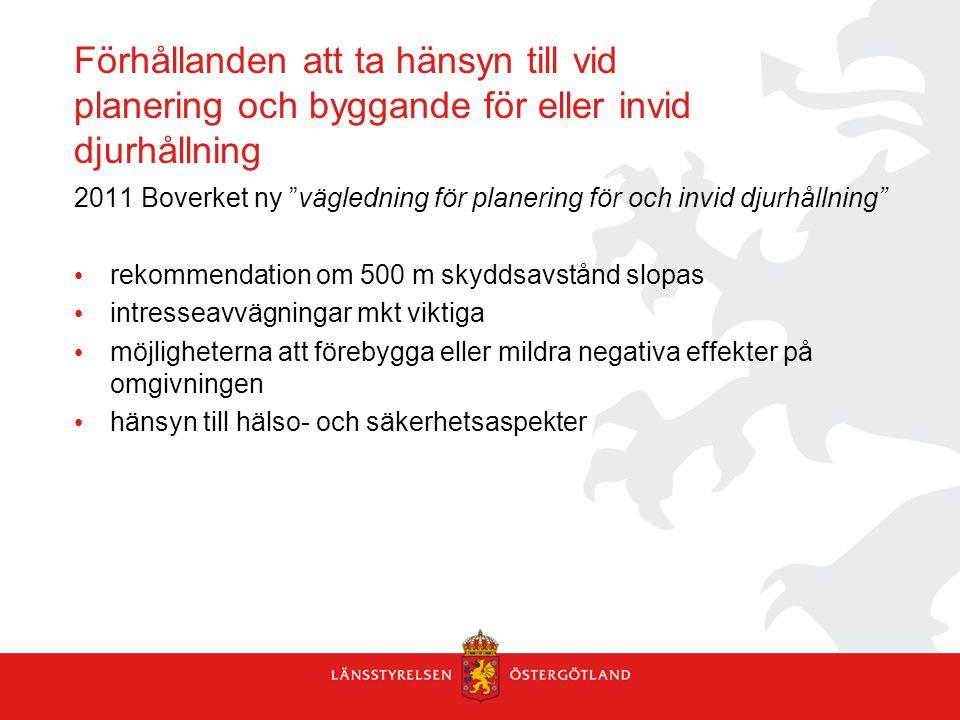 """Förhållanden att ta hänsyn till vid planering och byggande för eller invid djurhållning 2011 Boverket ny """"vägledning för planering för och invid djurh"""