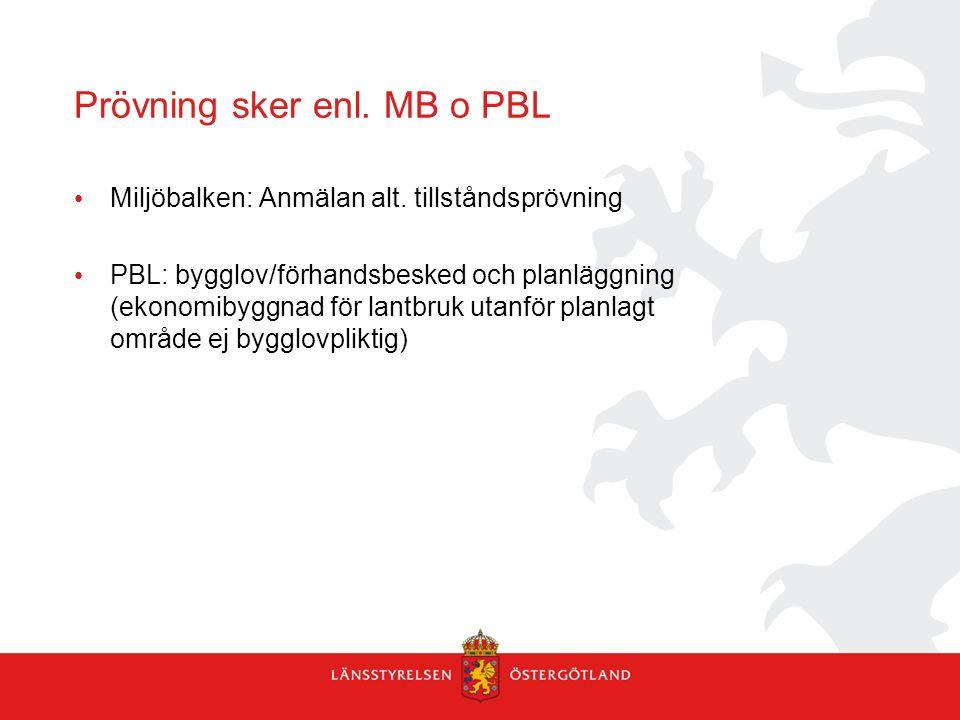 Prövning sker enl. MB o PBL Miljöbalken: Anmälan alt. tillståndsprövning PBL: bygglov/förhandsbesked och planläggning (ekonomibyggnad för lantbruk uta