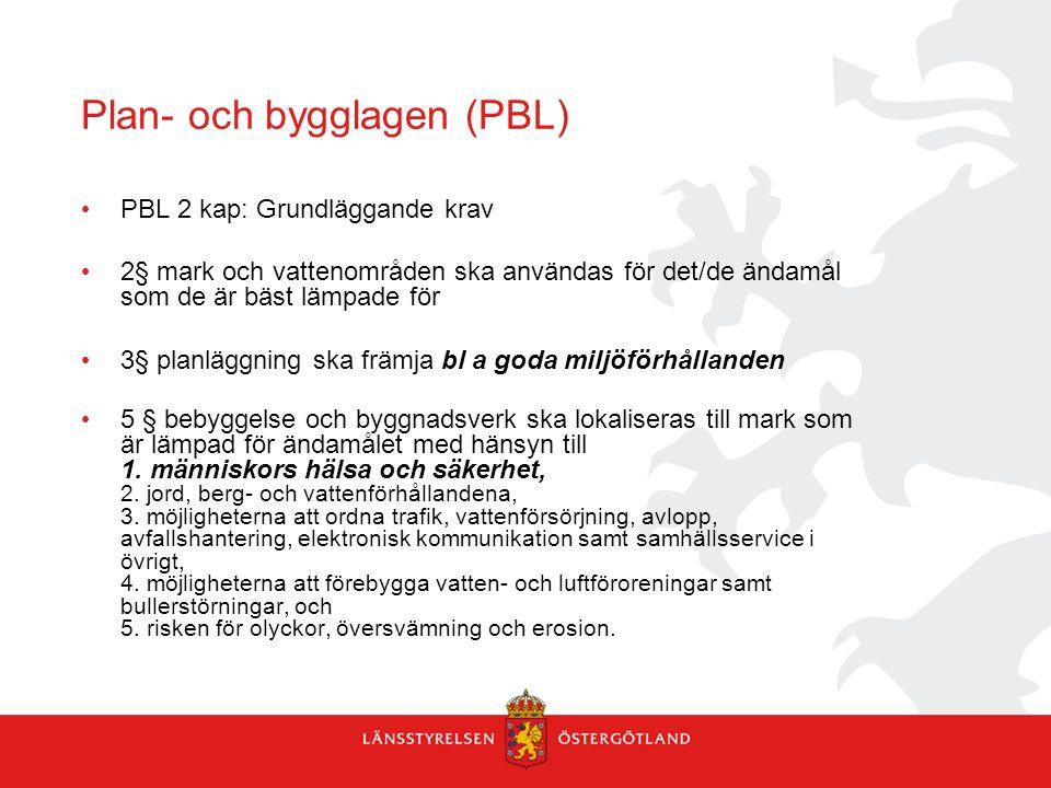 Plan- och bygglagen (PBL) PBL 2 kap: Grundläggande krav 2§ mark och vattenområden ska användas för det/de ändamål som de är bäst lämpade för 3§ planlä