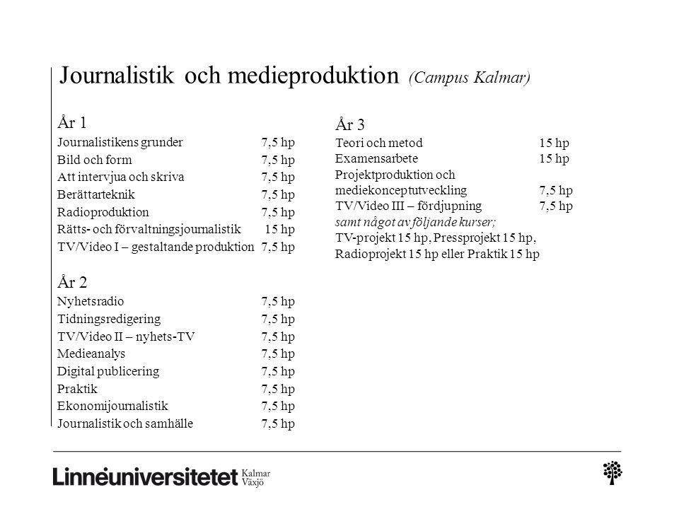 Journalistik och medieproduktion (Campus Kalmar) År 1 Journalistikens grunder 7,5 hp Bild och form 7,5 hp Att intervjua och skriva 7,5 hp Berättarteknik 7,5 hp Radioproduktion 7,5 hp Rätts- och förvaltningsjournalistik 15 hp TV/Video I – gestaltande produktion 7,5 hp År 2 Nyhetsradio 7,5 hp Tidningsredigering 7,5 hp TV/Video II – nyhets-TV 7,5 hp Medieanalys7,5 hp Digital publicering 7,5 hp Praktik 7,5 hp Ekonomijournalistik 7,5 hp Journalistik och samhälle 7,5 hp År 3 Teori och metod 15 hp Examensarbete 15 hp Projektproduktion och mediekonceptutveckling 7,5 hp TV/Video III – fördjupning 7,5 hp samt något av följande kurser; TV-projekt 15 hp, Pressprojekt 15 hp, Radioprojekt 15 hp eller Praktik 15 hp