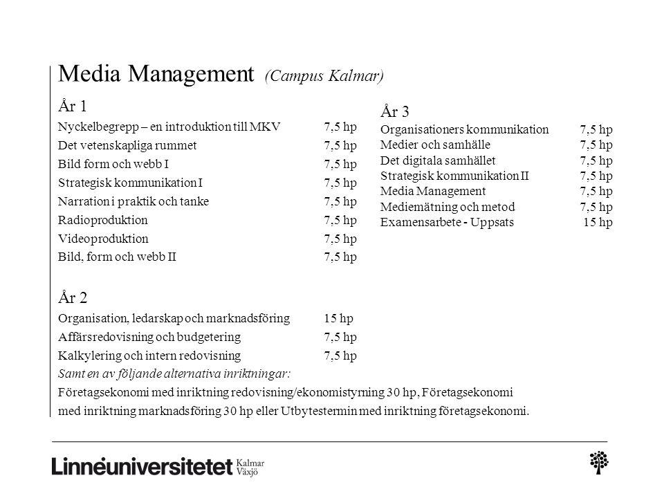 Media Management (Campus Kalmar) År 1 Nyckelbegrepp – en introduktion till MKV 7,5 hp Det vetenskapliga rummet 7,5 hp Bild form och webb I 7,5 hp Strategisk kommunikation I 7,5 hp Narration i praktik och tanke7,5 hp Radioproduktion 7,5 hp Videoproduktion 7,5 hp Bild, form och webb II 7,5 hp År 2 Organisation, ledarskap och marknadsföring 15 hp Affärsredovisning och budgetering 7,5 hp Kalkylering och intern redovisning 7,5 hp Samt en av följande alternativa inriktningar: Företagsekonomi med inriktning redovisning/ekonomistyrning 30 hp, Företagsekonomi med inriktning marknadsföring 30 hp eller Utbytestermin med inriktning företagsekonomi.