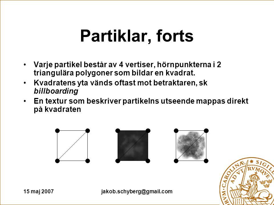15 maj 2007jakob.schyberg@gmail.com Partiklar, forts Varje partikel består av 4 vertiser, hörnpunkterna i 2 triangulära polygoner som bildar en kvadra