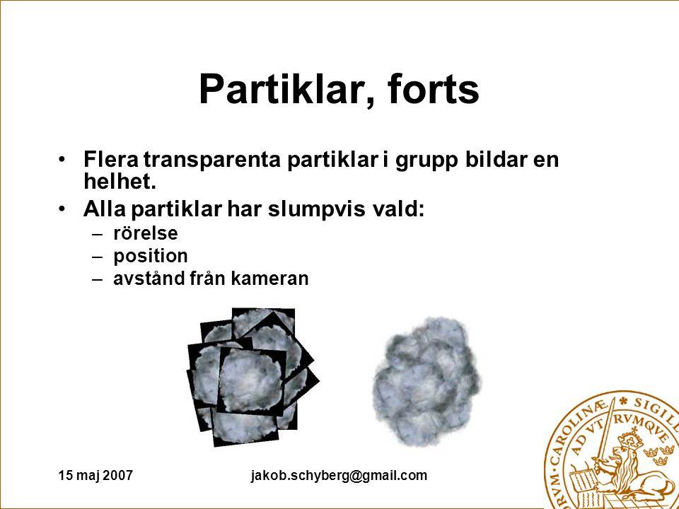 15 maj 2007jakob.schyberg@gmail.com Partiklar, forts Flera transparenta partiklar i grupp bildar en helhet.