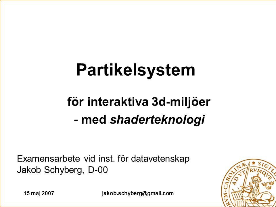 15 maj 2007jakob.schyberg@gmail.com Partikelsystem för interaktiva 3d-miljöer - med shaderteknologi Examensarbete vid inst.