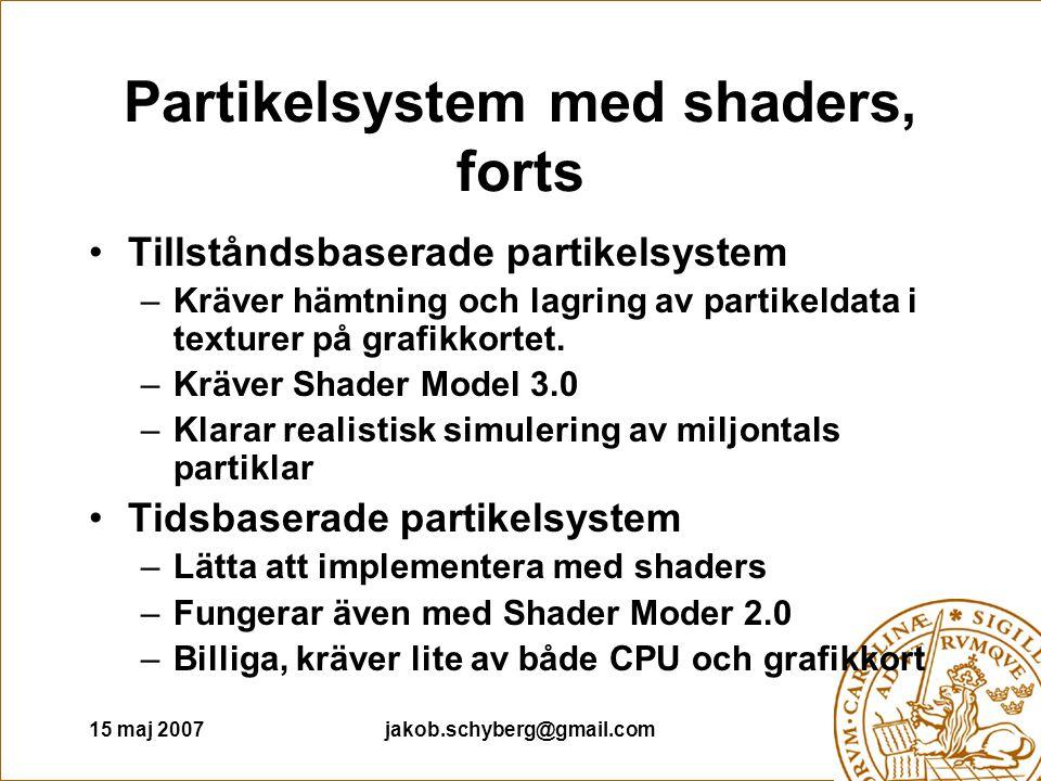 15 maj 2007jakob.schyberg@gmail.com Partikelsystem med shaders, forts Tillståndsbaserade partikelsystem –Kräver hämtning och lagring av partikeldata i texturer på grafikkortet.